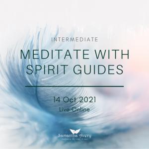 pastel coloured feather with blue text describing meditation course