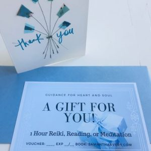 handmade card and blue gift vouch for self-care healing