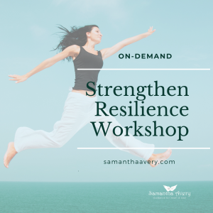 Woman leaping with ocean background symbolising resiliance